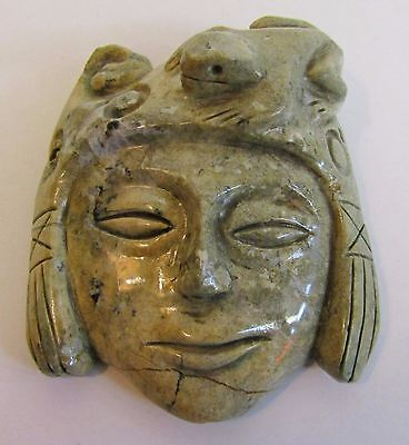 Carved From Stone * Necklace/Hanger Mask Pendant * In Style Of Aztec Maya Inca