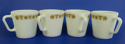 Vintage Pyrex * Gold Butterfly Flower * Coffee Cups/Mugs * Set of 4 Milk Glass