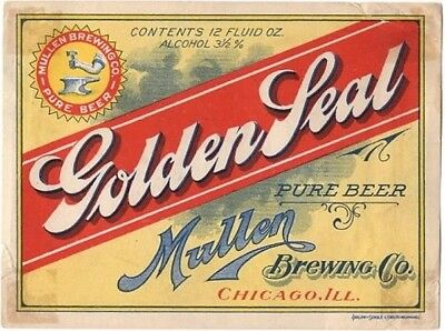 Rare 1910s Mullen Golden Seal Beer Chicago Stephens Collection Tavern Trove