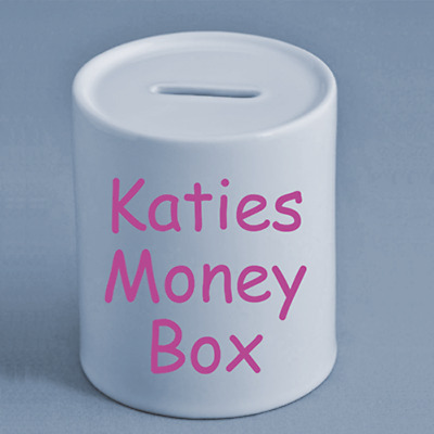 Katie's Money Box. Personalised, any name,text or picture. Great Gift. Christmas