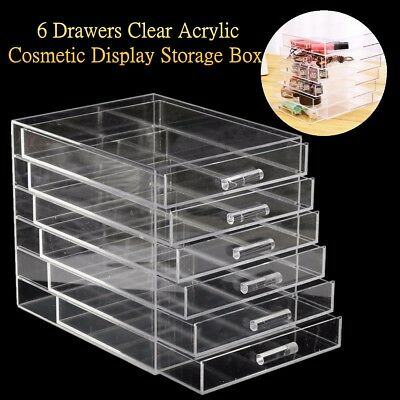 6 Tier Drawer Large Clear Acrylic Cosmetic Makeup Jewelry Organiser Storage Box