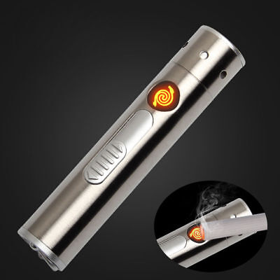Cool 2in1 Flame-less Windproof Lighter Mini USB Rechargeable Torch Flashlight