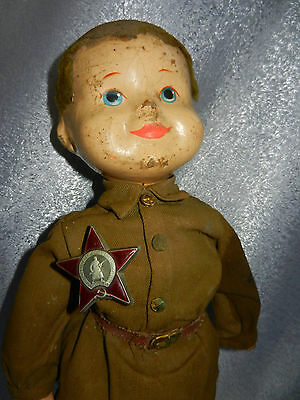 VERY RARE ! VTG Russian Soviet army form SOLDIERS toy doll medal antique figure