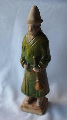 Antique Chinese Ming Dynasty Green Glaze Musican Figure