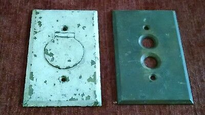 Vintage Old Brass Antique Push Button Light Switch + a Outlet Wall Plate Cover