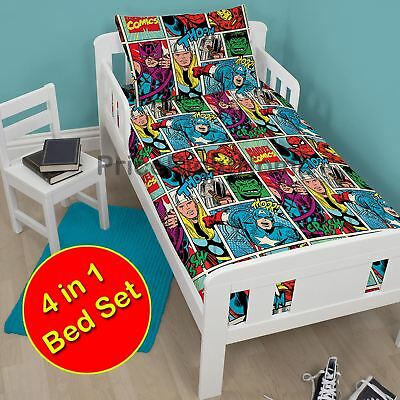 Marvel Comics Strike Junior Toddler Duvet Bedding Bundle Set 4 In 1