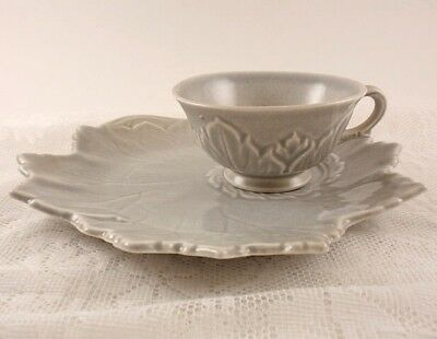 Steubenville WOODFIELD Tea & Toast Snack Set Dove Gray Footed Cup