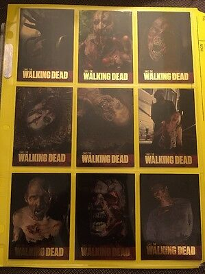 The Walking Dead Season 1 Complete Walkers Gold Foil Chase Card Set W1-W9