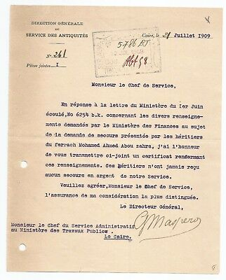 Egypt Ägypten 1909 Letter Signed By France Maspero Lot 5