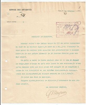 Egypt Ägypten 1909 Letter Signed By France Maspero Lot 1