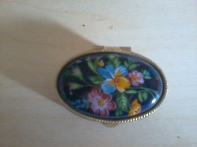 Pretty Floral Decorated With Beautiful Blue Background Pill Box