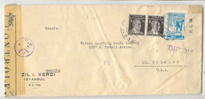 1944 Turkey multi censor French Raising Bombay and US received in Chicao nearly