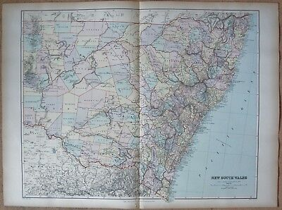 1896 Stanford Antique Map- Australia, New South Wales