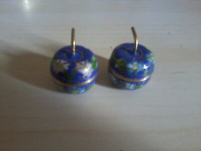 Beautiful Pair Of Cloisonne Apple Pill Boxes