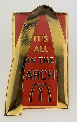McDonald's It's All In the Arch Pin Logo Golden Arches Red Lapel Employee