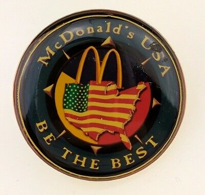 McDonald's USA Be the Best Pin Round VTG American Flag Country Employee Crew