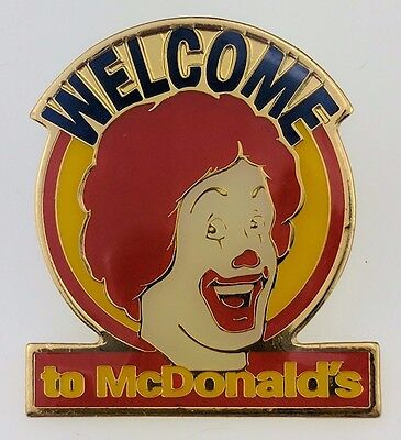 Vintage Welcome to McDonald's Pin Ronald Employee Crew Face Round Blue Red Smile