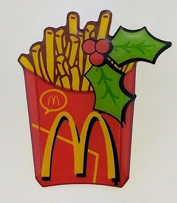 McDonald's French Fries Pin Holiday Christmas Holly Crew Lapel Golden Arches