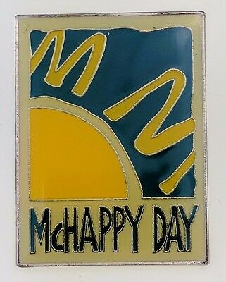 McDonald's McHappy Day Pin Lapel Employee Sun Square Metal Crew Collectable