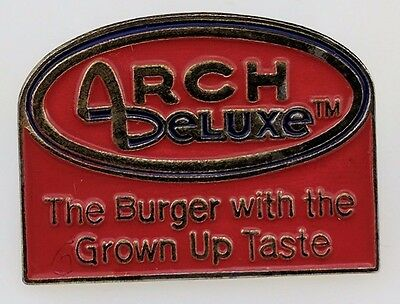 McDonald's Arch Deluxe The Burger with the Grown up Taste Pin Lapel Employee Red