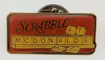 McDonald's Scrabble Game At Pin Red VTG Crew Employee Lapel Promo Collectable
