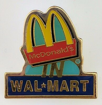 McDonald's In Wal-Mart Walmart Pin Logo Golden Arches Crew Employee Lapel