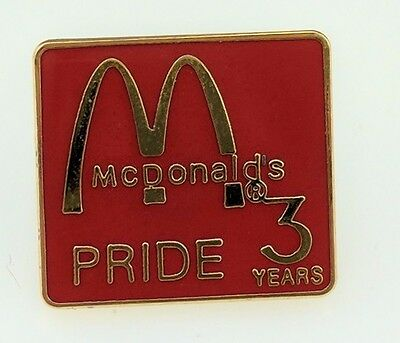 McDonald's 3 Years Pride Pin Red Square Owner Operator Employee Crew Lapel