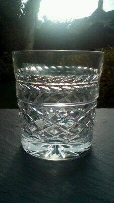 "Pair Of Galway crystal, Leah cut whisky tumblers, signed. 3.5"" tall."