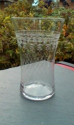 """Lady Hamilton Pall Mall tall tumbler, 4.75"""" tall, etched design."""