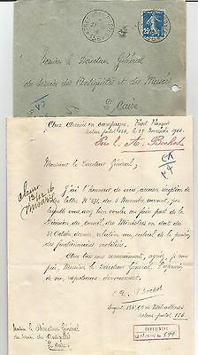 EGYPT Egyptologist 1916 LETTER SIGNED BY FRANCE ARISTIDE BOCHOT + COVER