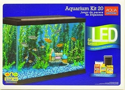 Aquarium 20 Gallon Fish Tank Aqua Culture Aquarium Starter Kit LED Light Filter