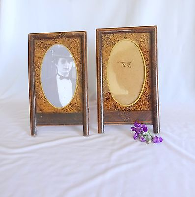 2 Vintage Frames Art Deco French Inlaid Mid Century Photo Picture Wood Retro