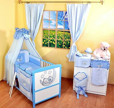 NEW WHITE-BLUE 2in1 COT-BED 120x60 WITH 12-PIECE  BEDDING no 7- MATTRESS FREE