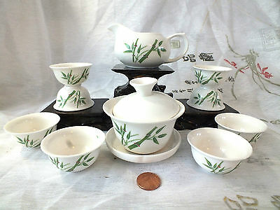 Chinese Japanese Green Bamboo White S Tea Set Cup New Year Birthday Dinner Ax