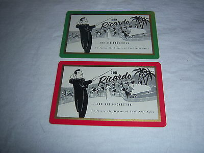 (2) single DON RICARDO ORCHESTRA playing cards-vintage 1940s-cool BIG BAND jazz