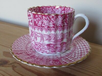 Antique Copeland Spode Coffee Can Cup And Saucer Pink Red Gold Floral Aesthetic