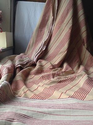 """19C French Ticking Mattress Cover Red Cream Decorative Textile Projects 56""""x 73"""""""
