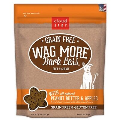 Cloud Star Wag More Bark Less Soft Chewy Grain Free Peanut Butter and Apples 5oz