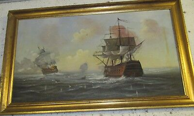 Original gilt frame oil on canvas painting ships on rough sea by maritime artist
