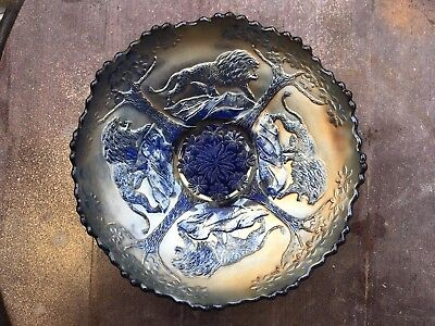 Rare Stunning Cobalt Blue Fenton Carnival Glass Lion Decorated Dish Bowl