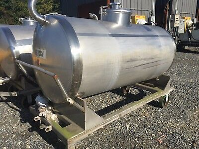 500 Gallon Horizontal Sanitary 304 Stainless Steel Process Tank on Cart/Wheels