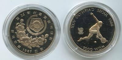 G7244 - Südkorea 1000 Won 1987 PROOF KM#47 Olympia Seoul 1988 Tennis Proof PP