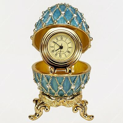 2 1/3'' Easter Enameled Egg With Clock Blue Trellis Russian Faberge Traditions