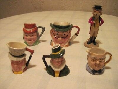 collection of 5 character jugs Staffordshire etc & a fox,great condition