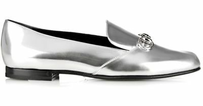55b97697693a2 Auth Gucci Silver Leather Junior Kira Bit Horsebit Loafer Flat Slip on Shoes  27
