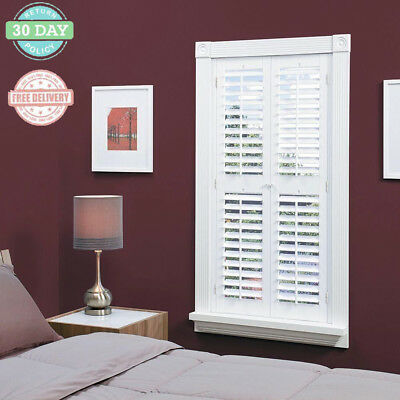 Faux Wood Interior Shutter Window Mounted White Louver Panel Magnet Closing
