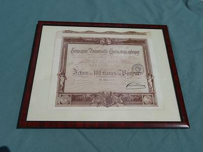 1910 French Movie Company: Companie Universelle Cinematographique Shares Certif.