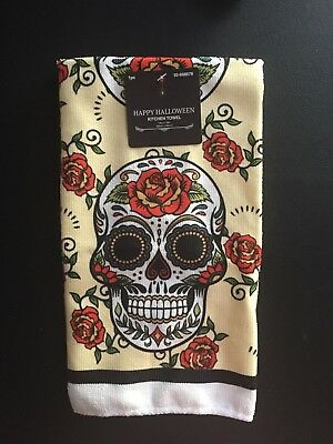 Day Of The Dead Dia De Muertos Kitchen Dish Towel Sugar Skull Rose NWT Halloween