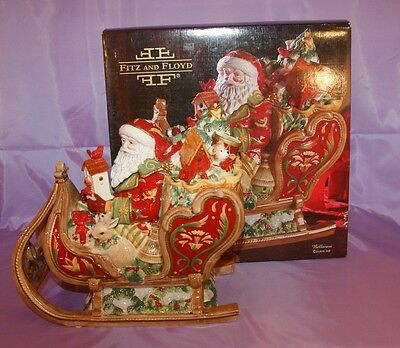 Fitz And Floyd Bellacara Cookie Jar Santa Claus Christmas Centerpiece MIB