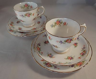 2 Vintage Tuscan China Floral Gilded Edge Trios Cup Saucer Side Plate Excellent